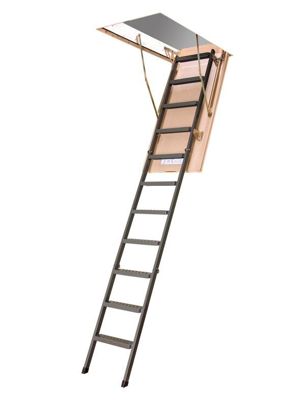 8 Ft 11 Inch 25 Inch X 47 Inch Insulated Steel Attic Ladder With 350 Lb Capacity Type Ia Rating Attic Ladder Attic Renovation Attic Flooring