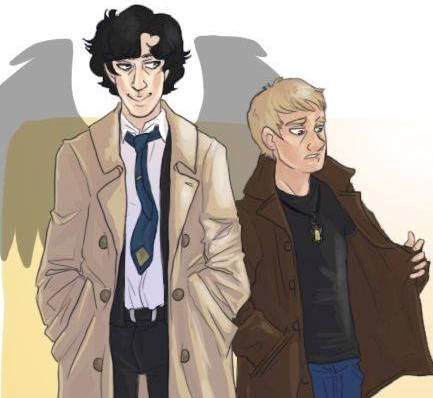 Click to see full image Sherlock and John as Castiel and Dean!! My OTPs #Johnlock and #Destiel!