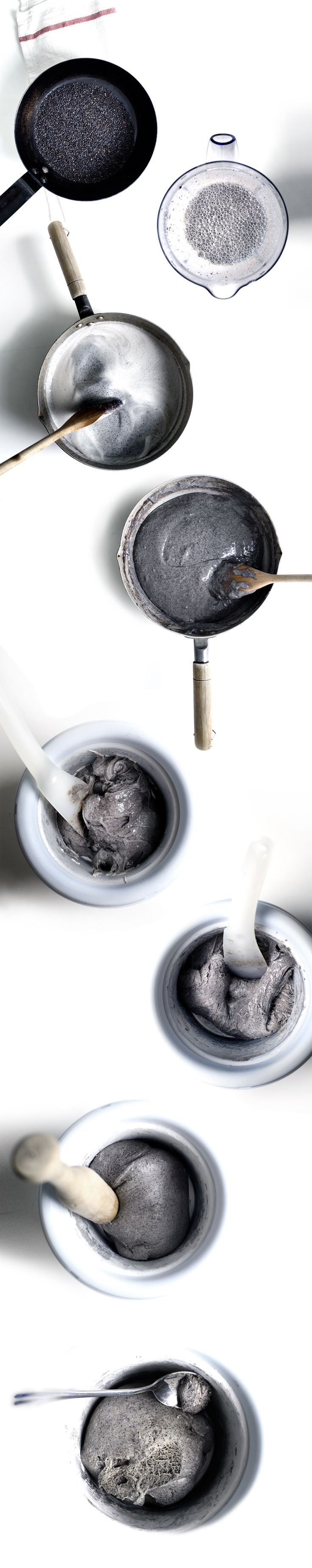 chewy and sticky, black sesame MOCHI ice cream