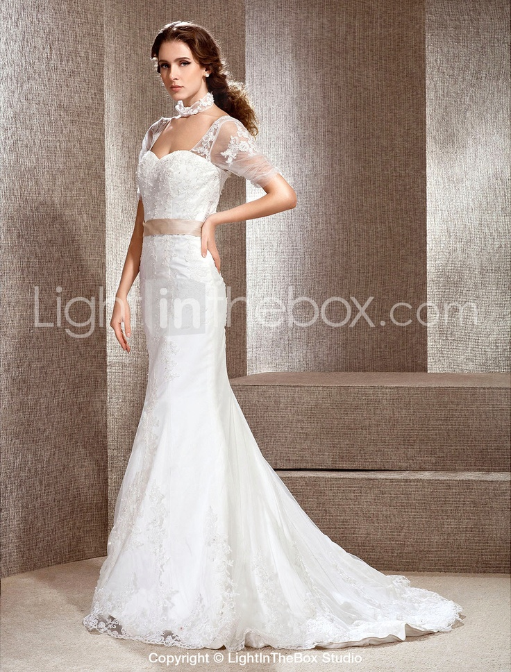 Oooh, now this is pretty... Trumpet / Mermaid Off-the-shoulder Chapel Train Lace Wedding Dress - € 200.49