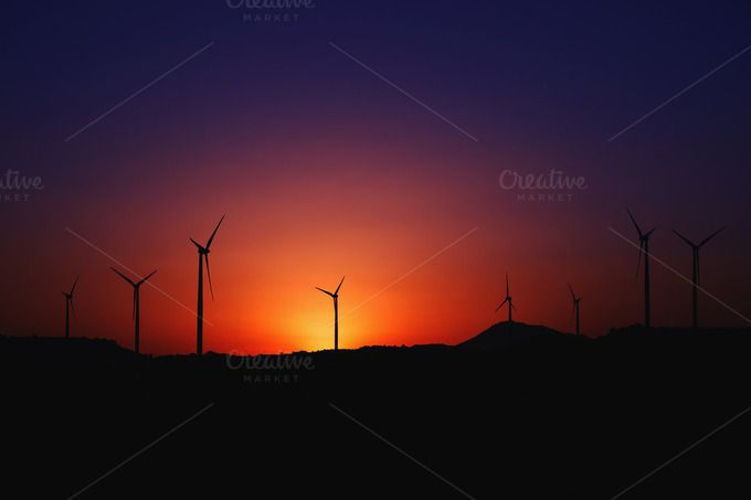 Check out Wind farm and windmills silhouettes by odpium on Creative Market