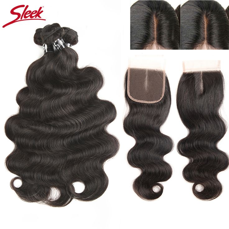 Sleek Brazilian Hair Weave Bundles With Closure 4x4 Middle Part Free Ship Remy Human Hair Body Wave 3 Bundles With Lace Closure