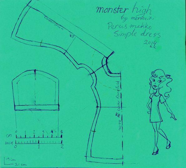 Free Simple dress pattern for Monster High doll | Merineiti