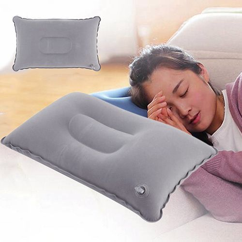 Micelec Portable Inflatable Flocked Air Pillow For Rest Bed Travel