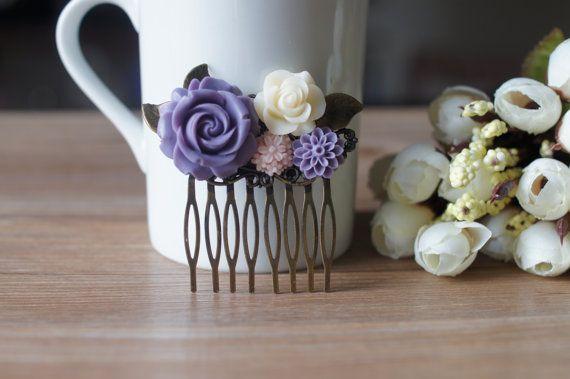 Bridal hair Comb Purple  Wedding Hair Accessory. by MyBijouxDesign