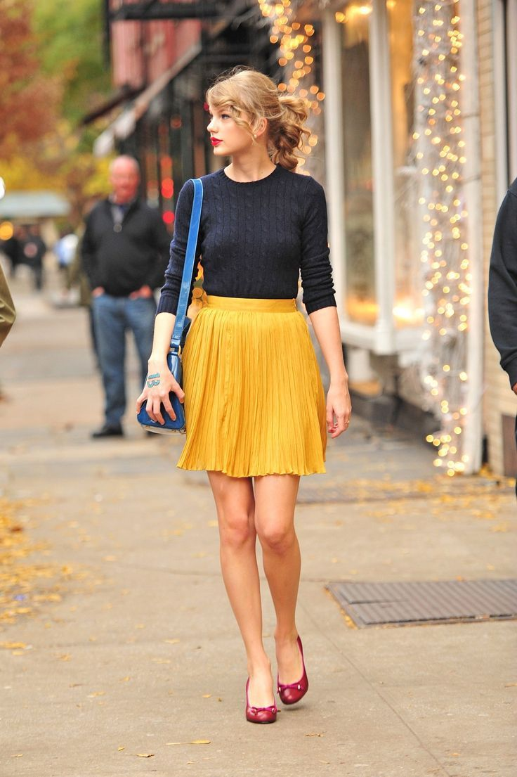 mustard skirt with knitted sweater