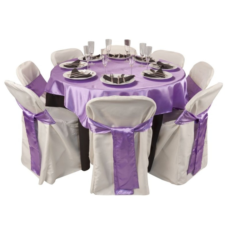 Table Setting , Black U0026 Lavender Combo With Ivory Chair Cover