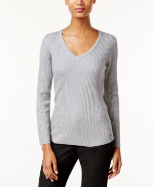 Calvin Klein Ribbed V-Neck Sweater - Gray XL