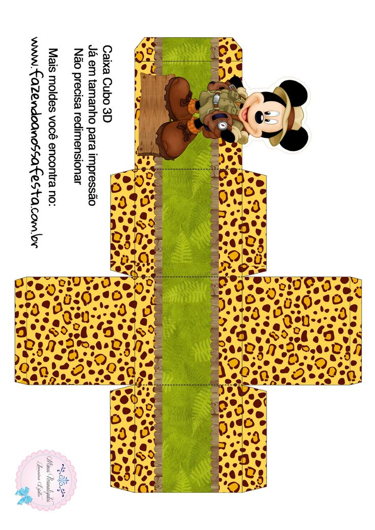 Caixa Cubo 3D Mickey Safari