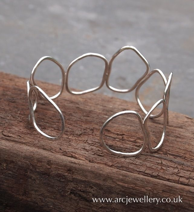 Hammered sterling silver bangle, cuff £46.00