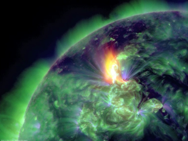 A solar flare caused a portion of the plasma in the Sun's atmosphere to break off and fly out into space at a speed of about 5 million miles an hour. Seen here is the coronal mass ejection (CME) ejection of the plasma cloud breaking off from the sun.