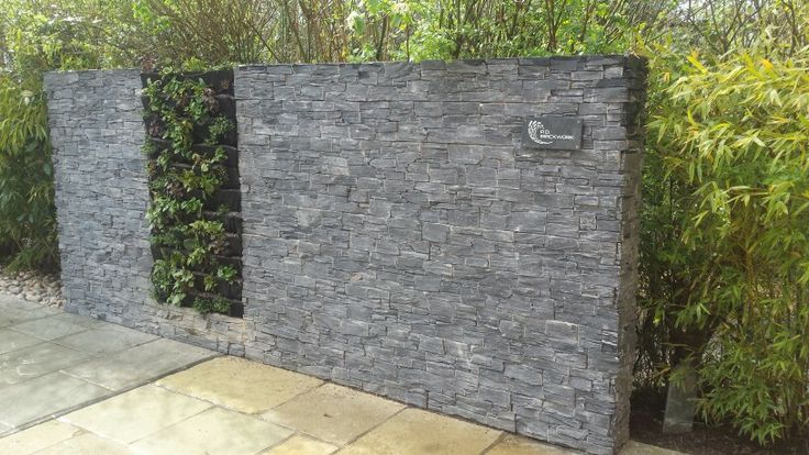 Slate wall finished with plaque.