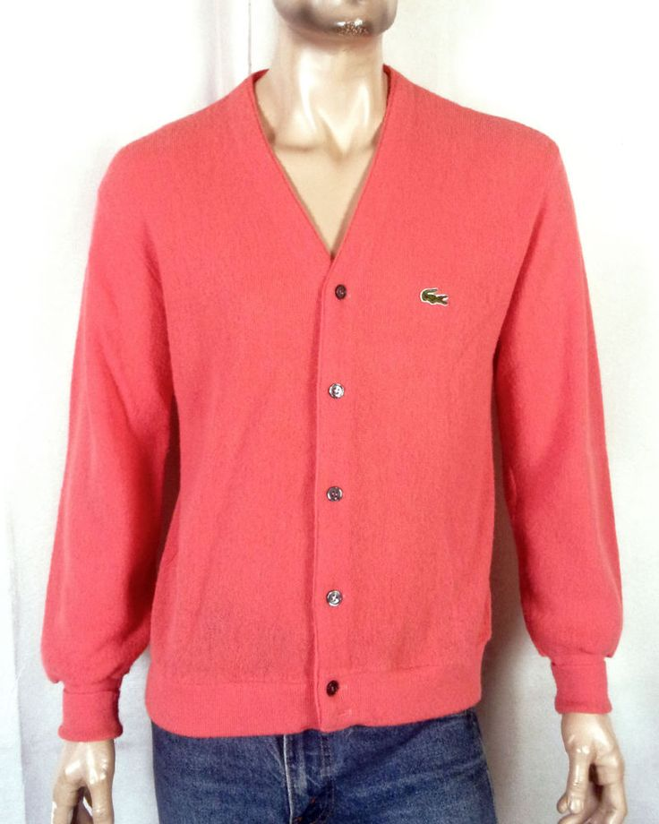 vtg 70s 80s Izod Lacoste Pink Coral Cardigan Sweater RARE color sz L
