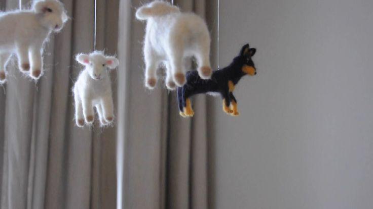 """Annex Suspended Mobiles - Custom Handmade Mobile Art """"Sheep Dog"""""""