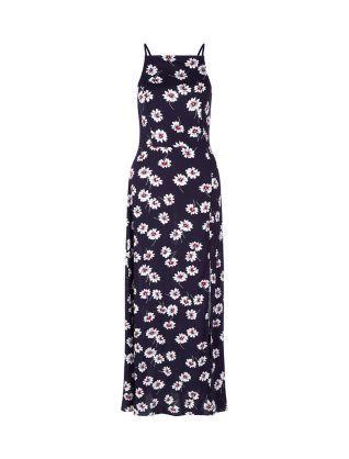 Blue Floral Print High Neck Split Front Maxi Dress   New Look