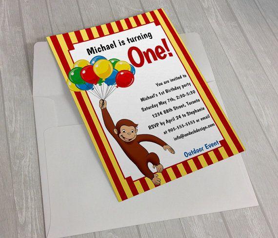 Curious George First Birthday Invitation