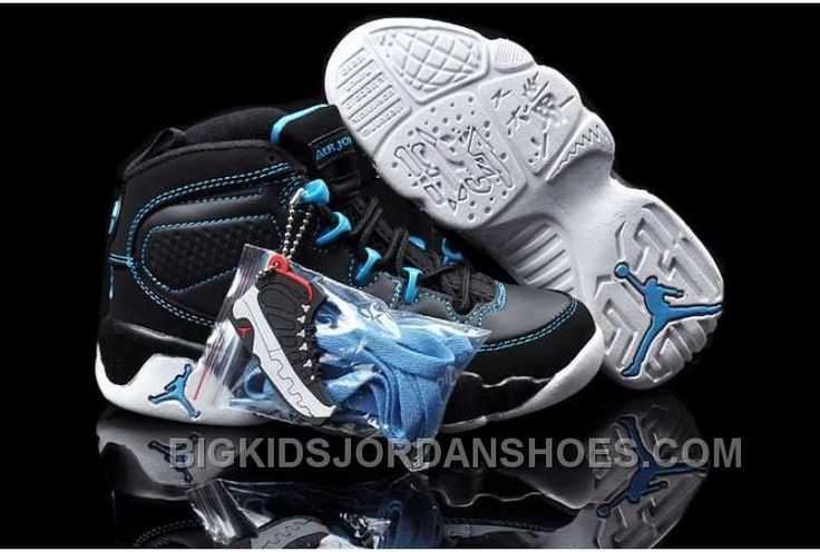 http://www.bigkidsjordanshoes.com/nike-air-jordan-9-kids-black-blue-white-shoes-online.html NIKE AIR JORDAN 9 KIDS BLACK BLUE WHITE SHOES ONLINE Only $84.11 , Free Shipping!