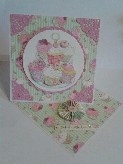 Twisted Easel Card using dovecraft cupcake boutique papers.