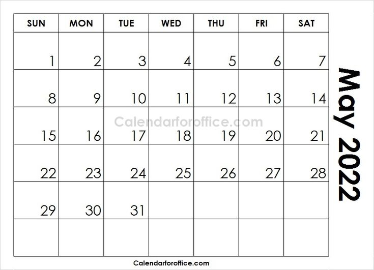Printable Blank Calendar May 2022