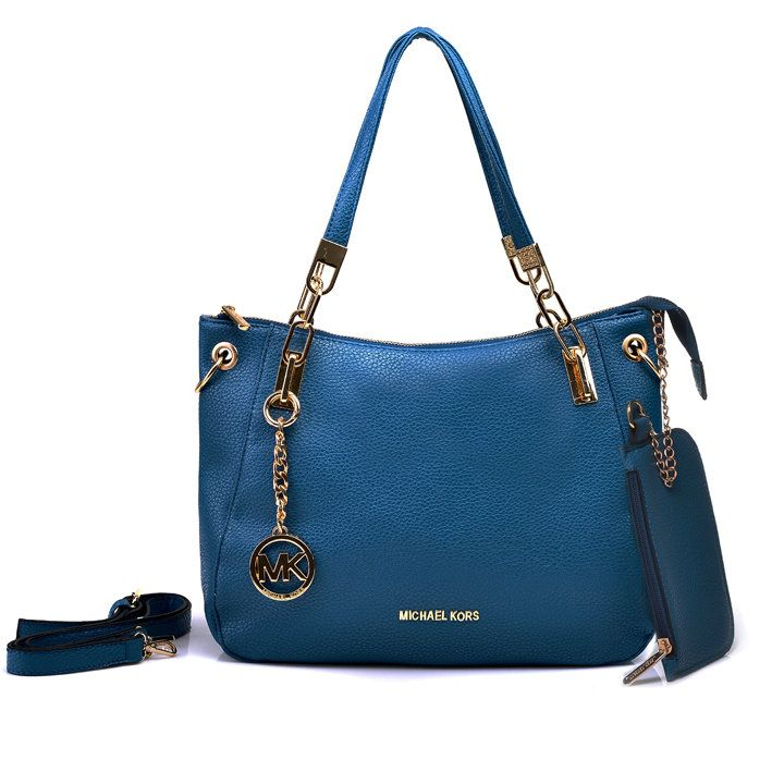 Michael Kors Shoulder Tote with Navy blue Leather