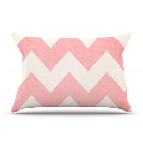 Catherine McDonald Sweet Kisses Pink Chevron Pillow Case   KESS InHouse