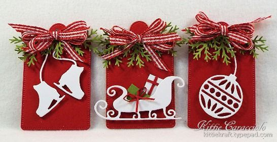 Good Sunday morning. I have some fast and easy tags to share with you today. I love how crisp white images look against a red background for Christmas projects. The addition of a multi loop gingham bow and a few...