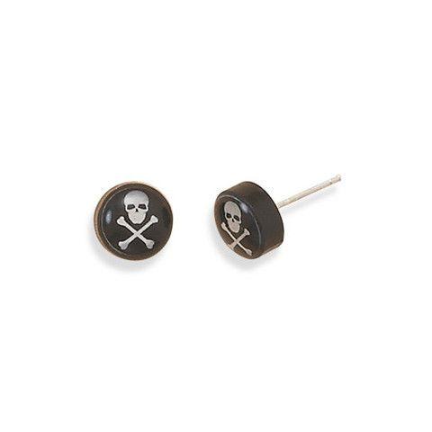 E005251 - Black and White Skull and Crossbone Post Earrings