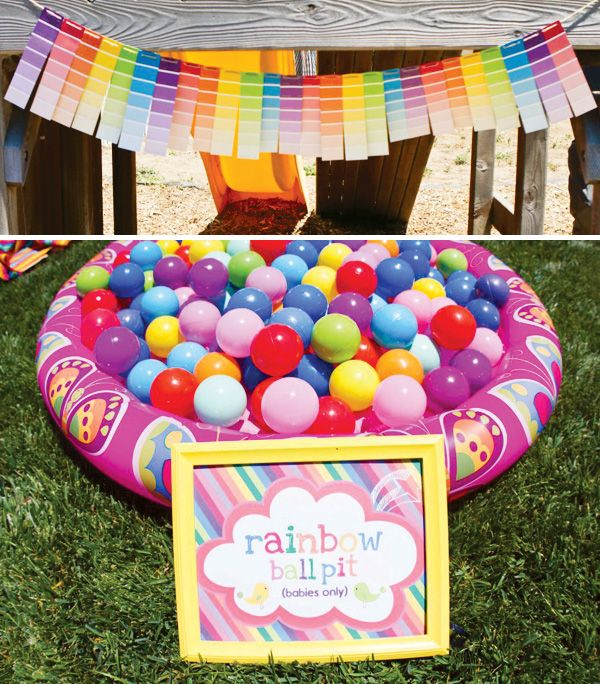 Rainbow party. I'm tired of paint sample crafts but the baby ball pit is cute.