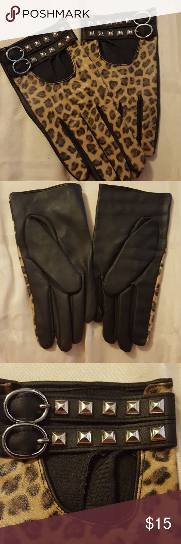 Black & Animal Print Gloves New, never worn. Small. Looks and feels like leather, but synthetic Accessories Gloves & Mittens