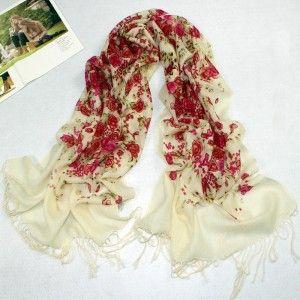 Red Rose Pattern Pashmina Wool Scarf
