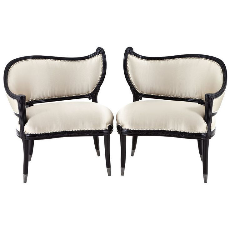 Hollywood Regency Accent Chairs | ... Of Antique Black Lacquer Hollywood  Regency Accent Chairs