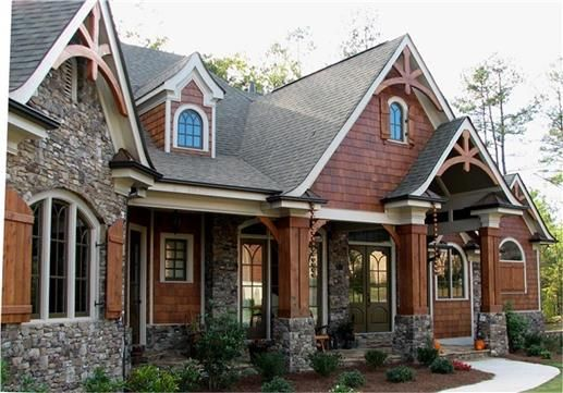 These are the colors I want in our house. Bluestone, cedar, cream trim.