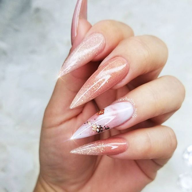 18 Pointy Nails Designs You Can't Resist To Copy ★ Pointy Nails with Glitter Designs Picture 3 ★ See more: http://glaminati.com/pointy-nails/ #pontynails #pointynaildesigns
