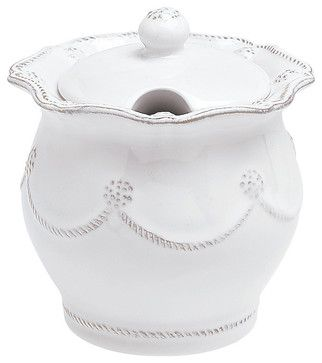 Berry and Thread Lidded Sugar/Jam Bowl, Whitewash transitional food containers and storage