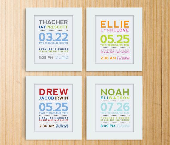 Cute idea for kids' rooms or playrooms.  Or even grouped in the bathroom.: Girl, Birth Info, Gift Ideas, Baby Gifts, Cute Ideas, Word Art, Birth Announcements, Kids, Cute Babies