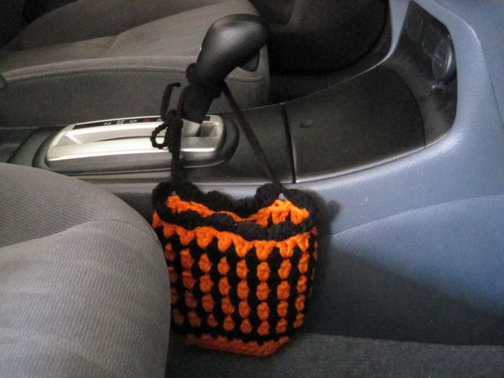 Crochet Car Cell Phone Holder, Car Accessories - pumpkin/black (CCPH1G) by ytang on Etsy