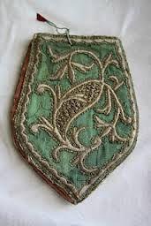 A woman's purse.  Late-Ottoman, ca. 1900.  'Goldwork' inbroidery (technique: 'Maraş işi') on green silk.  Part of a bridal/festive costume.