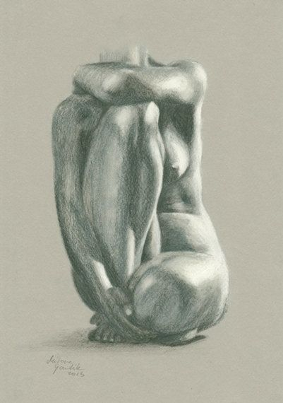 ORIGINAL DRAWING Female nude 8 by Milena Gawlik  by MilenaGawlik