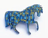 Horse Brooch Pin, Hand Painted, Wood Brooch, Horse Jewelry, Equestrian Jewelry, Horse Gift, Animal Jewelry, Horse Jewellery, Horse Painting