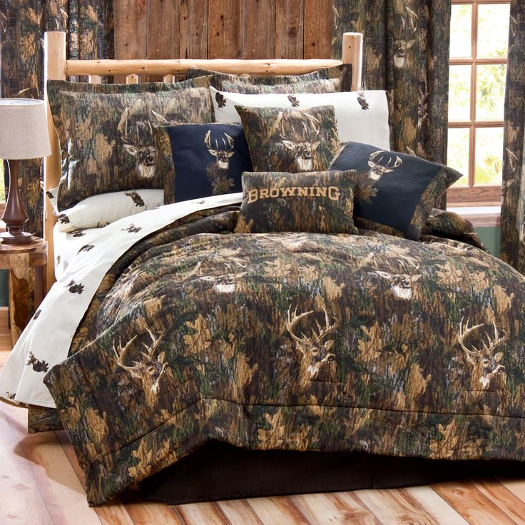 What a great look for a lodge or cabin - Browning Camo Deer Bedding. Avid outdoorsmen will love this comforter on their bed.  #lodge #rusticcabin