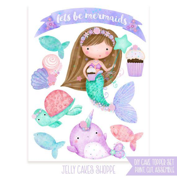 Diy Mermaid Cake Topper Diy Birthday Mermaid Birthday Girls Birthday Cake Toppers Mermaid Cak Mermaid Cake Topper Mermaid Birthday Girls Mermaid Birthday Party