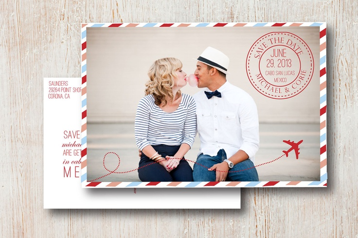 So gonna steal this for our vow renewal!! Destination Save the Date by SimpleSimonDesign on Etsy.