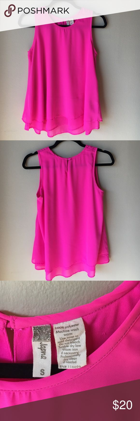 Hot Pink Sleeveless Blouse Hot Pink Sleeveless Blouse - Size Small - Japna! NWOT!!! Took the tags off but never wore it...such a cute top!! Great bright color! Japna Tops Blouses