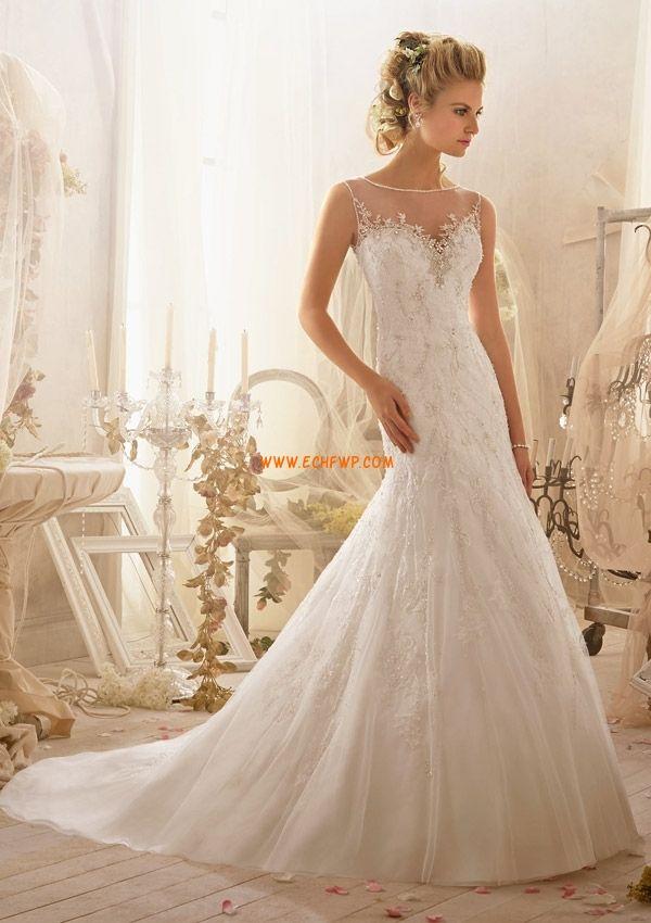 Små vita klänningar Bateau/Båtringning Vår Bröllopsklänningar 2014
