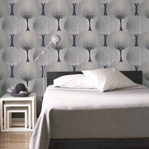 Stylish grey and silver metallic tree design from the Tempo Collection by Galerie - G56373R