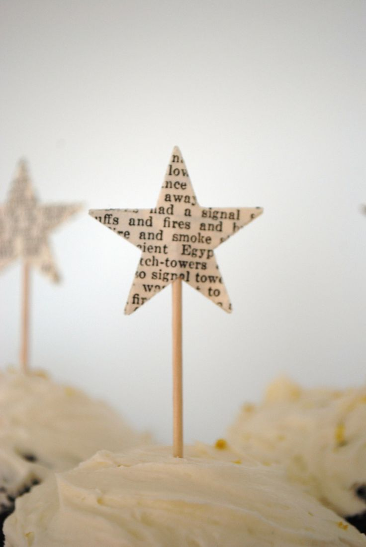 12 Star Cupcake Picks, made from vintage paper.