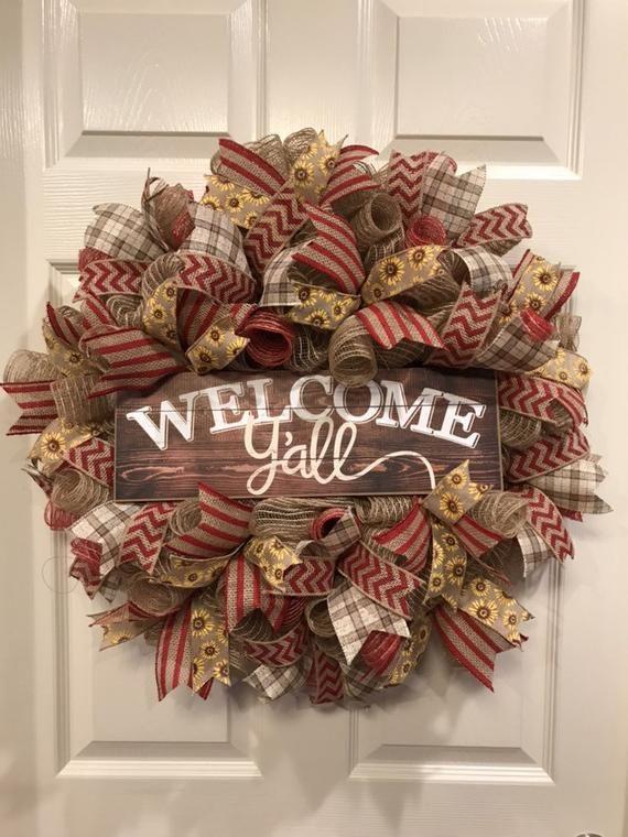 Welcome Y'all Wreath, wreath for front door. door wreath, Summer wreath, Fall wreath, every day wrea