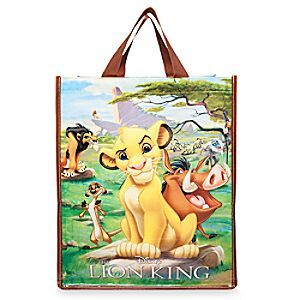 This glossy green bag is the MANE event! It features lemon yellow perimeter stitching and screen art that includes Simba, Timon, and Pumbaa against Pride Rock. <i>You'll</i> be proud to rock this sustainable bag, made from 80% plastic bottles.