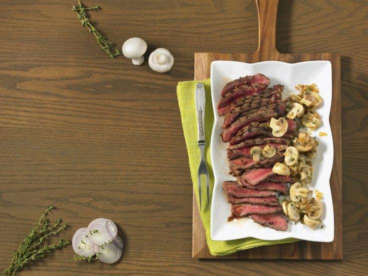 Strip Loin Steak with Sautéed Mushrooms | Canadian Beef