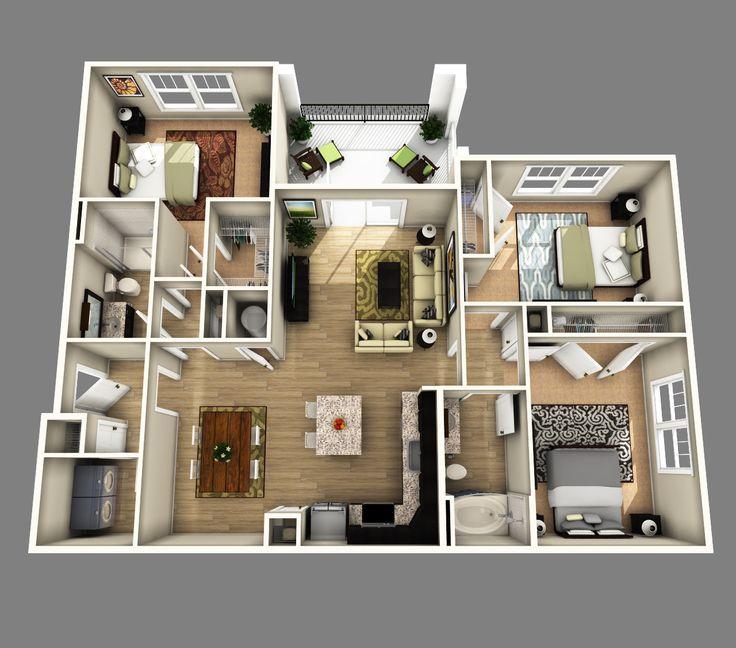 3D Open Floor Plan 3 Bedroom 2 Bathroom